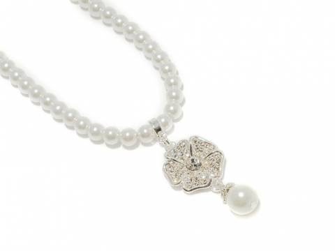 Bilde av 90138 Kort halssmykke med hvite perler og blomst