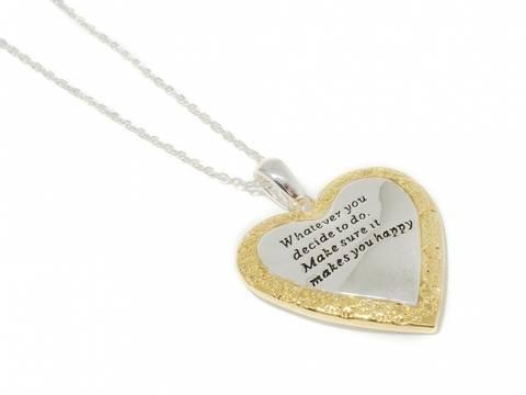 Bilde av 90146 Langt hjerte med gullkant og tekst
