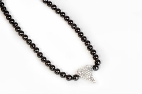 Bilde av 10571 Kort smykke sorte perler