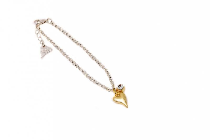 20333 Armbånd sølvfarget kjede, liten sten og gullfarget hjerte