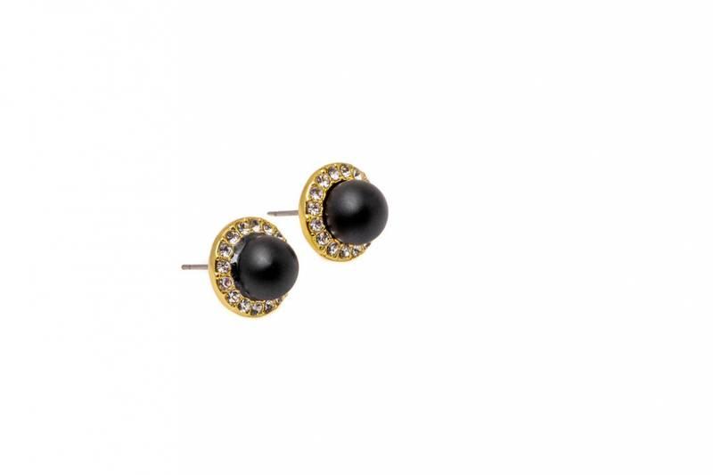 60166 Øredobb rund gullfarget med sort perle og stener