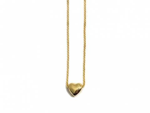 Bilde av 90108 Kort halssmykke med lite gullfarget hjerte