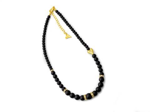 Bilde av 10694  Kort smykke sorte perler stener,gull
